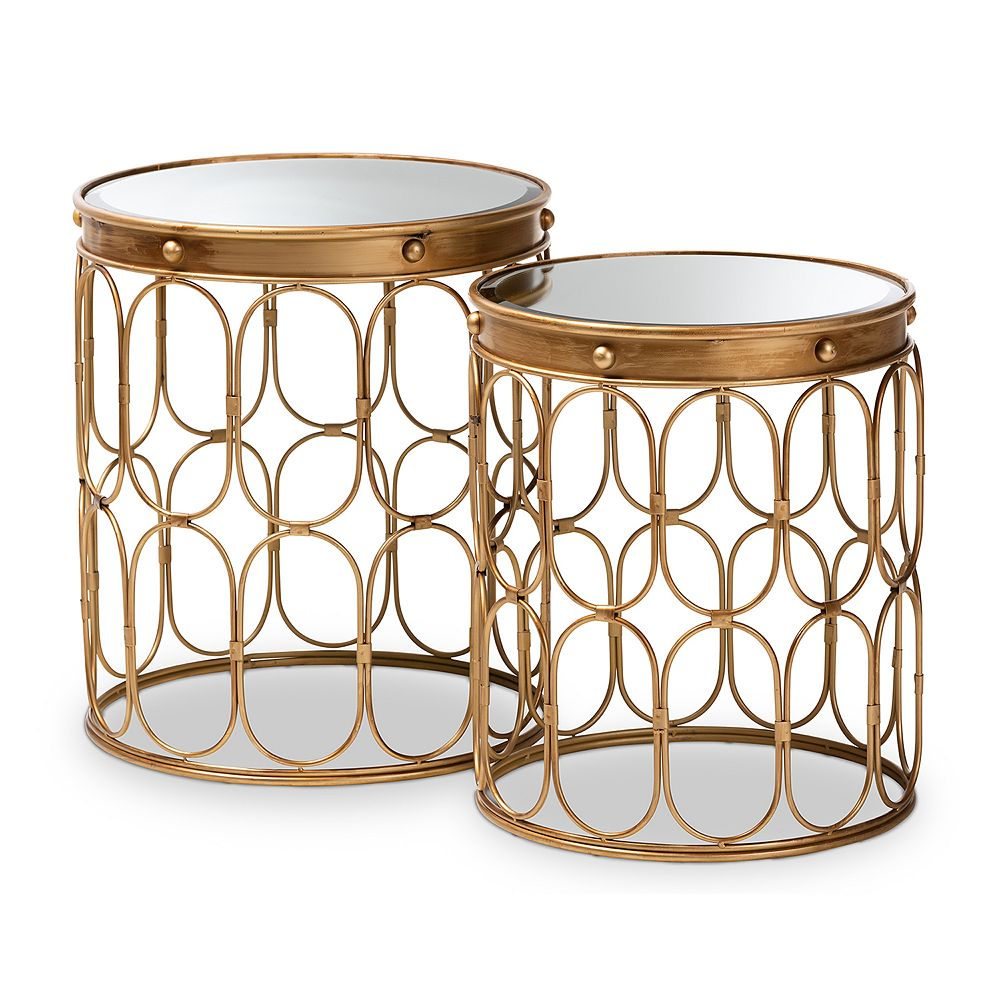 Baxton Studio Amina Gold Table 2-Piece Set