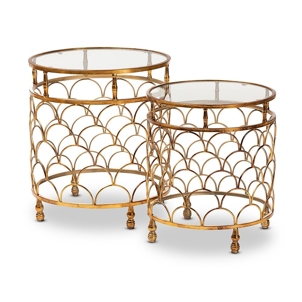 Baxton Studio Aliya Gold Table 2-Piece Set