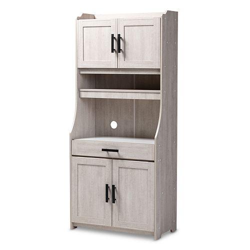 Baxton Studio Portia White Kitchen Storage Cabinet