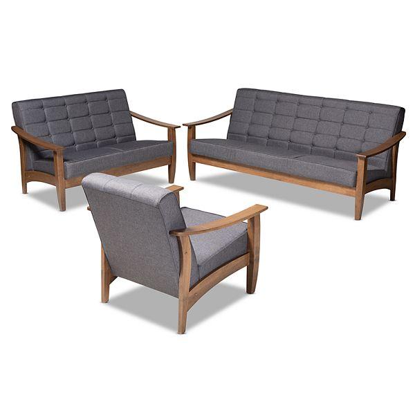 Baxton Studio Ln Grey 3 Piece Set, Studio Collection 3 Piece Furniture Set