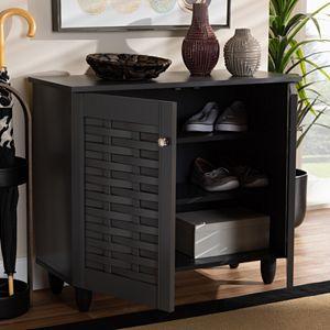 Baxton Studio Winda Charcoal Shoe Cabinet