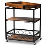 Baxton Studio Capri Medium Brown Wine Cart