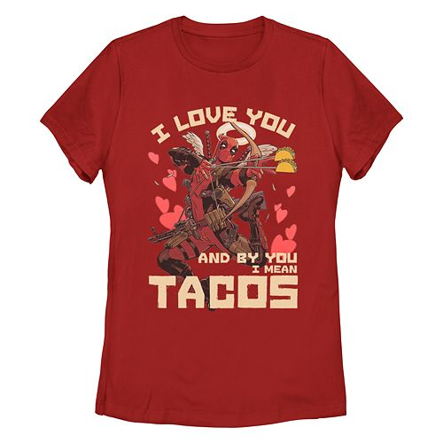 Juniors' Marvel Deadpool Taco Love Tee