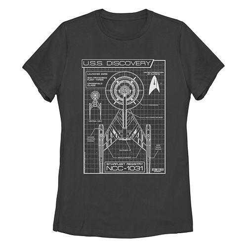 Juniors' Star Trek:Discovery Ship Schematics Graphic Tee