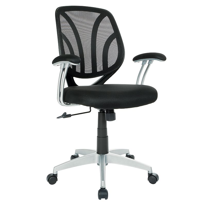 OSP Home Furnishings Screen Desk Chair, Black