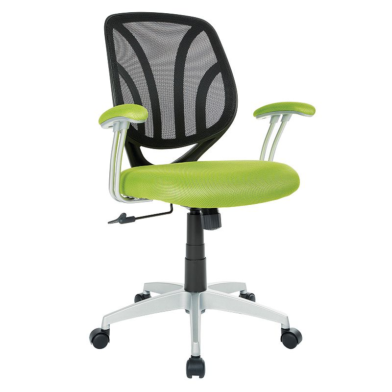 OSP Home Furnishings Screen Desk Chair, Green Keep comfortable while working in your office with this OSP Home Furnishings Screen Desk Chair. Silver finish on base Adjustable design 36.63 H x 26 W x 22.56 D Weight: 25 lbs. Seat height: 18 - 21.75-in. Weight limit: 250 lbs. Frame: nylon, steel Upholstery: polyester Fill: foam Manufacturer's 1-year limited warranty Assembly required Wipe clean Imported Model no. EM69203 Gift Givers: This item ships in its original packaging. If intended as a gift, the packaging may reveal the contents. Size: One Size. Color: Green.