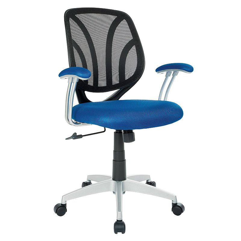 OSP Home Furnishings Screen Desk Chair, Blue Keep comfortable while working in your office with this OSP Home Furnishings Screen Desk Chair. Silver finish on base Adjustable design 36.63 H x 26 W x 22.56 D Weight: 25 lbs. Seat height: 18 - 21.75-in. Weight limit: 250 lbs. Frame: nylon, steel Upholstery: polyester Fill: foam Manufacturer's 1-year limited warranty Assembly required Wipe clean Imported Model no. EM69203 Gift Givers: This item ships in its original packaging. If intended as a gift, the packaging may reveal the contents. Size: One Size. Color: Blue.