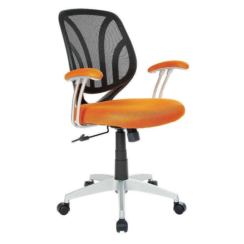 OSP Home Furnishings Screen Desk Chair, Orange Keep comfortable while working in your office with this OSP Home Furnishings Screen Desk Chair. Silver finish on base Adjustable design 36.63 H x 26 W x 22.56 D Weight: 25 lbs. Seat height: 18 - 21.75-in. Weight limit: 250 lbs. Frame: nylon, steel Upholstery: polyester Fill: foam Manufacturer's 1-year limited warranty Assembly required Wipe clean Imported Model no. EM69203 Gift Givers: This item ships in its original packaging. If intended as a gift, the packaging may reveal the contents. Size: One Size. Color: Orange.