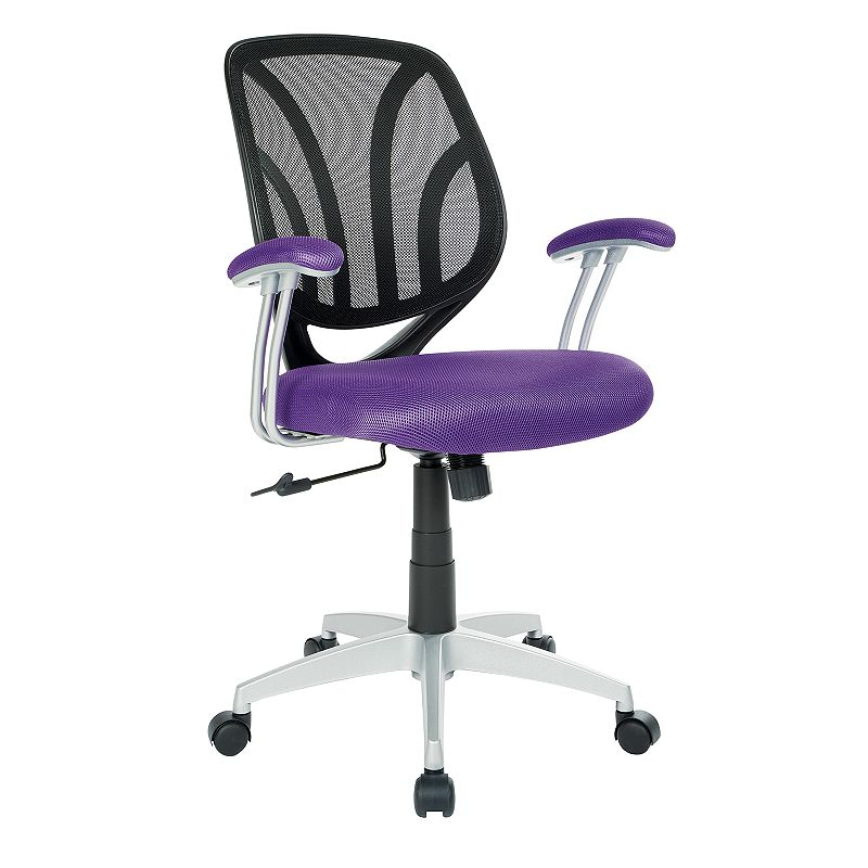 OSP Home Furnishings Screen Desk Chair, Purple Keep comfortable while working in your office with this OSP Home Furnishings Screen Desk Chair. Silver finish on base Adjustable design 36.63 H x 26 W x 22.56 D Weight: 25 lbs. Seat height: 18 - 21.75-in. Weight limit: 250 lbs. Frame: nylon, steel Upholstery: polyester Fill: foam Manufacturer's 1-year limited warranty Assembly required Wipe clean Imported Model no. EM69203 Gift Givers: This item ships in its original packaging. If intended as a gift, the packaging may reveal the contents. Size: One Size. Color: Purple.