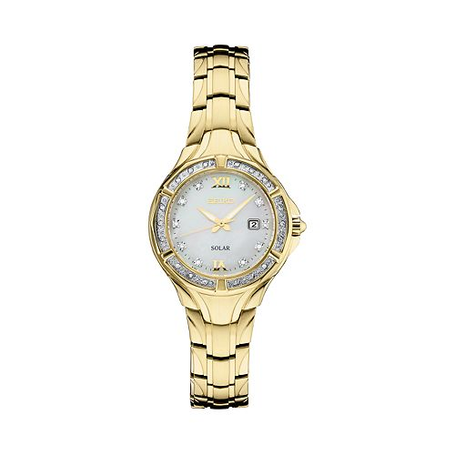 Seiko Women's Solar Stainless Steel Diamond Accent Watch - SUT380