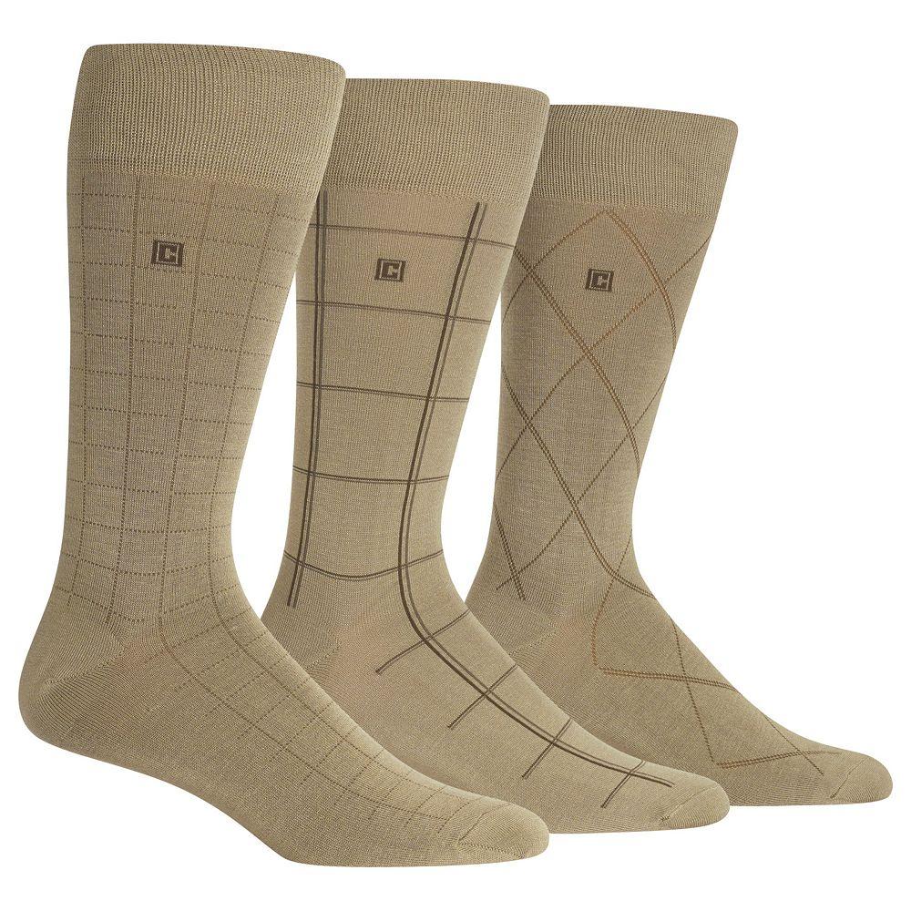 Men's Chaps Dashed Windowpane Dress Crew Socks 3-Pair