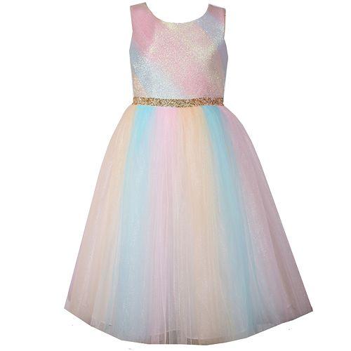 7c4d6de89 Girls 7-16 & Plus Size Bonnie Jean Metallic Ombre Rainbow Mesh ...