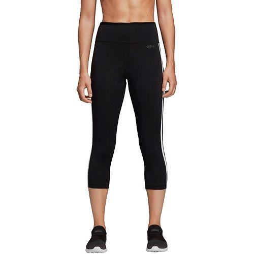 adidas Originals Black Three Stripe Cropped Sweatpants With Roll Hem