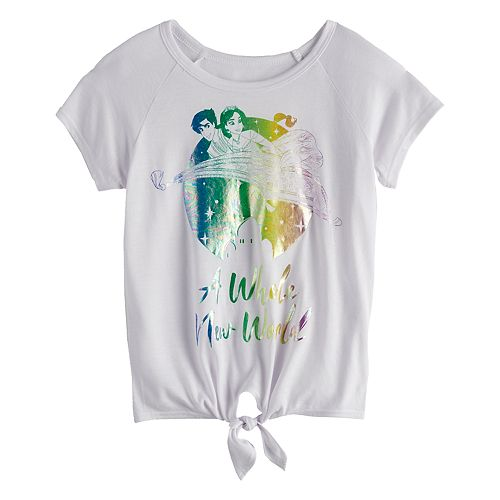 "Girl's Disney's Aladdin ""Whole New World"" Tie-Front Tee"