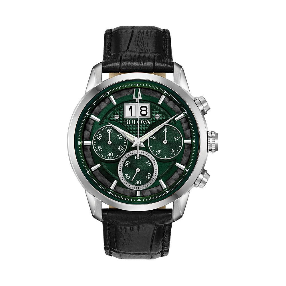 Bulova Men's Leather Chronograph Watch - 96B310