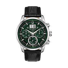 5c76e008e2f5 Bulova Men s Leather Chronograph Watch - 96B310