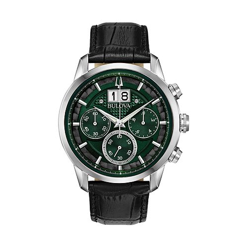 6184d974e Bulova Men's Leather Chronograph Watch - 96B310