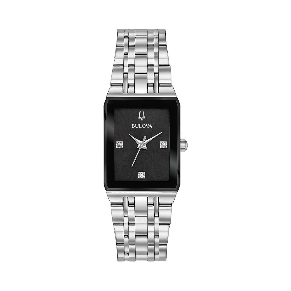 Bulova Women's Quadra Stainless Steel Diamond Watch - 96P202
