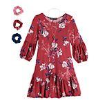 Girls 7-16 & Plus Size Three Pink Hearts Printed Swing Dress & Accessories Set