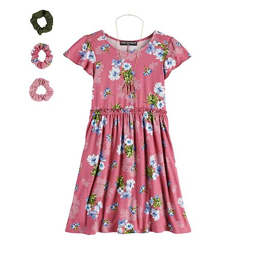 Girls 7-16 & Plus Size Three Pink Hearts Printed Skater Dress & Accessories Set