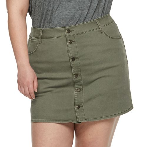 Juniors' Plus Size Mudd® Button Front Distressed Twill Skirt
