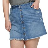 Juniors' Plus Size Mudd® Button-Front Deconstructed Denim Skirt