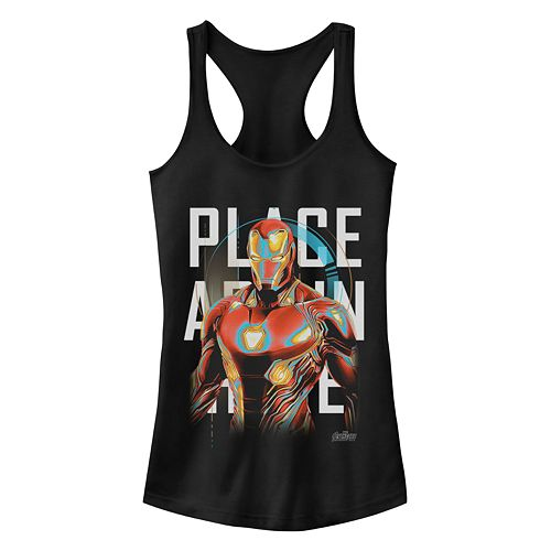 Juniors' Marvel Iron Man Glow Racerback Tank