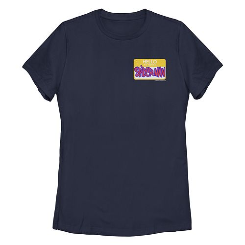 Juniors' Spider-Verse Spider-Man Name Tag Tee