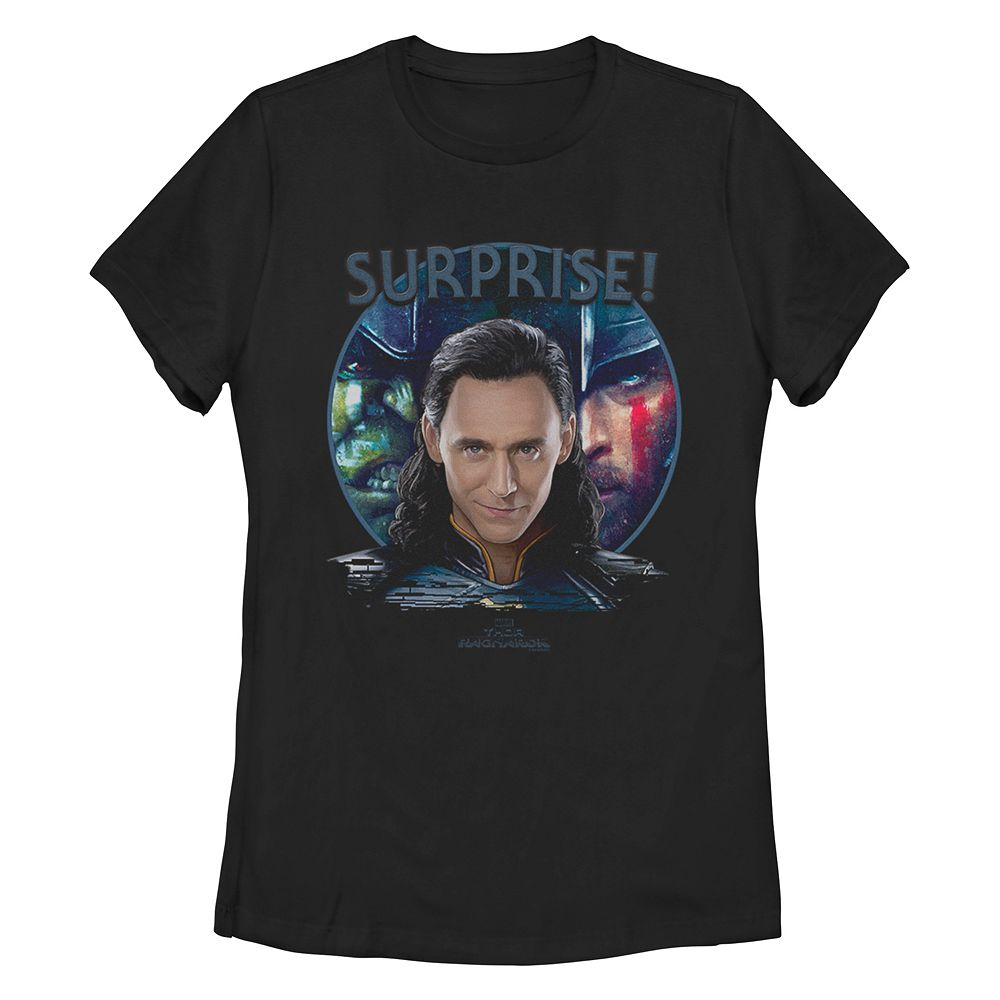 Juniors' Marvel Thor Ragnarok Loki Surprise Tee