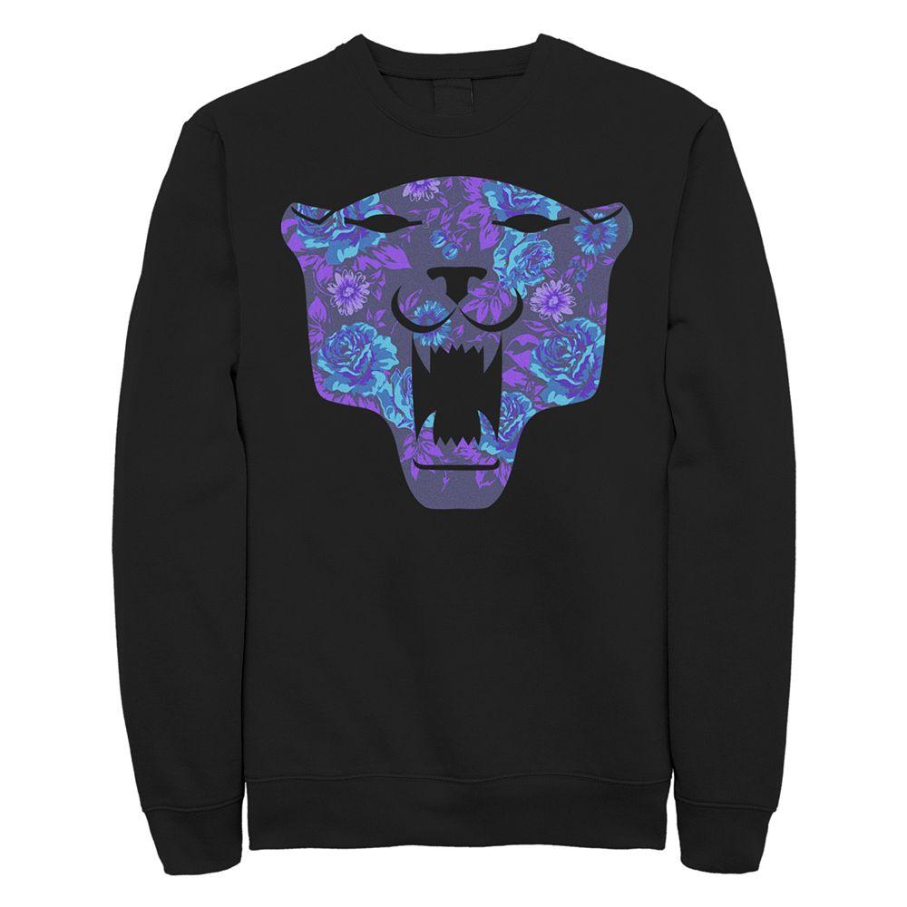 Juniors' Black Panther Floral Logo Fleece