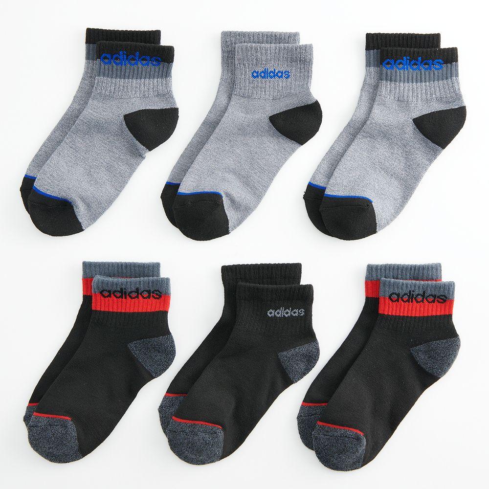 Boys 4-20 adidas Blocked Linear 6-Pack High Quarter-Crew Socks