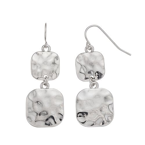 Women's SONOMA Hammered Square Casting Fish-Hook Drop Earrings