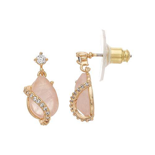 Rhode & Co. Rose Quartz Teardrop Earrings