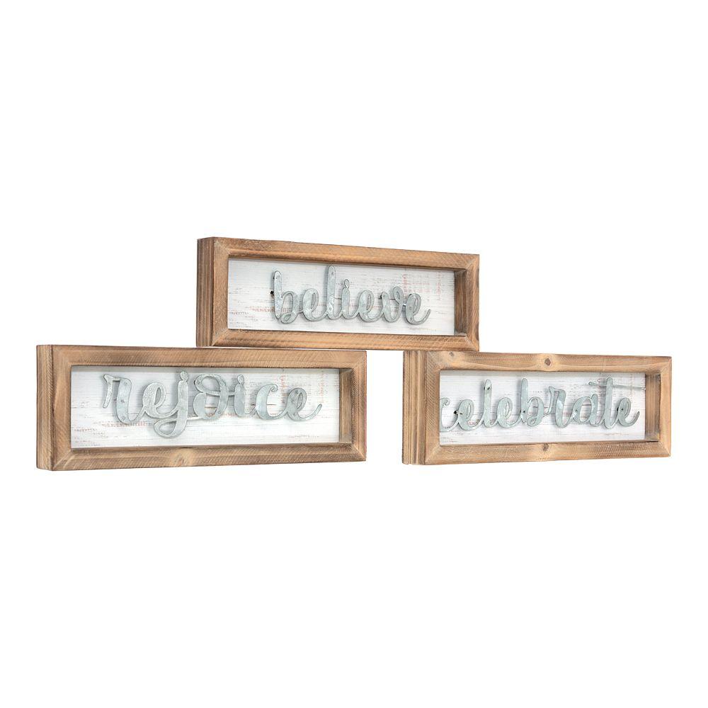 Kiera Grace Believe Rejoice Celebrate Wall Art 3-piece Set