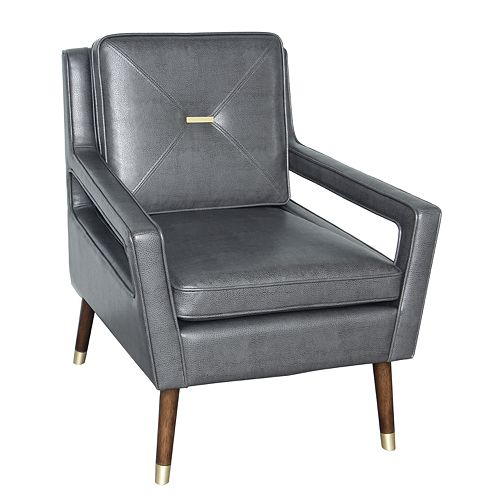 Homefare Mid-Century Modern Accent Chair in Charcoal Gray