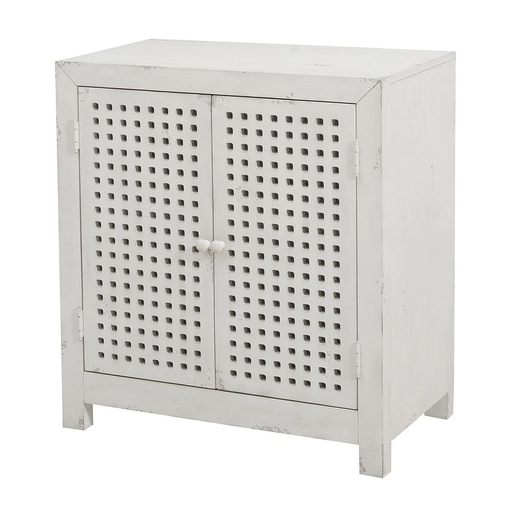 Home Meridian Two Door Pierced Grid Accent Chest
