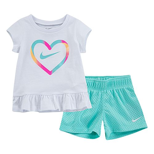Toddler Girl Nike Heart Peplum-Hem Tee & Mesh Shorts Set