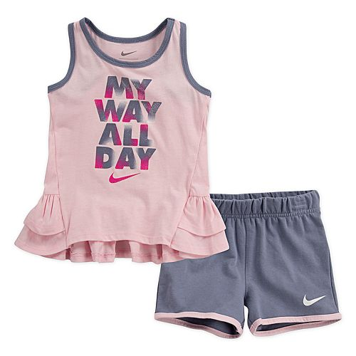 """Toddler Girl Nike """"My Way All Day"""" Glittery Graphic Tank Top & Shorts Set"""