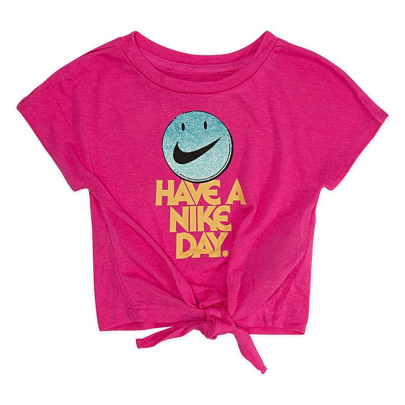 Toddler Girl Nike  Have A Nike Day  Graphic Tee, Girl's, Size: 2T, Brt Purple She'll  have a Nike day  wearing this girls' Nike knot-front graphic tee. In pink. Crewneck Short sleeves Knot-front hem  Have a Nike day  slogan Logo smiley graphic FABRIC & CARE Polyester, viscose Machine wash Imported Size: 2T. Color: Brt Purple. Gender: female. Age Group: kids.