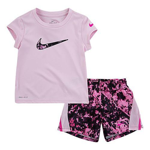 Toddler Girl Nike Logo Tee & Splatter Shorts Set