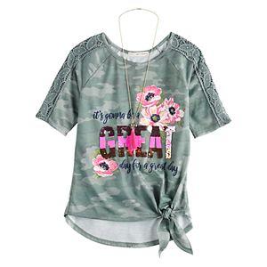 Girls 7-16 Self Esteem Short Sleeve Raglan Top With Necklace