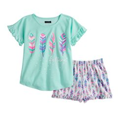 57b21af47798 Girls 6-16 Cuddl Duds Feather Top & Shorts Pajama Set