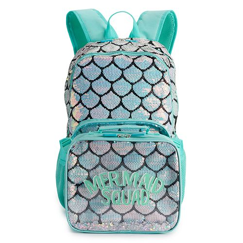 Girls Mermaid Squad Backpack With Lunch Box