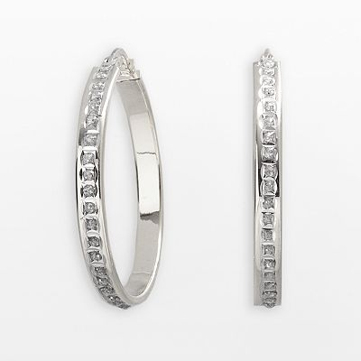 Diamond Mystique Platinum Over Silver Hoop Earrings
