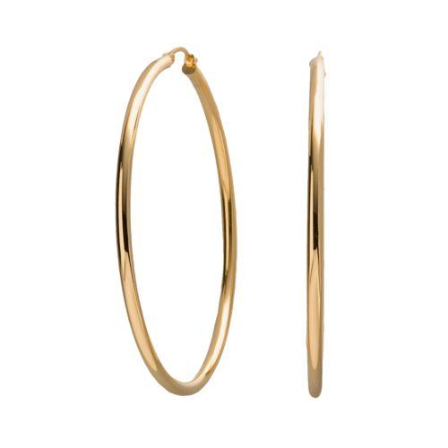 18k Gold-Over-Silver Large Hoop Earrings