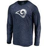 Mens NFL Los Angeles Rams Striated Tonal Logo Long Sleeve Tee