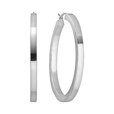 Platinum Over Silver Hoop Earrings