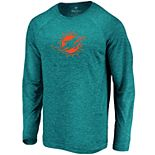 Mens NFL Miami Dolphins Striated Tonal Logo Long Sleeve Shirt