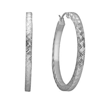 Platinum Over Silver Hoop Earrings