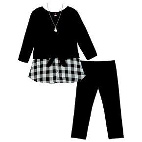 Girls 7-16 IZ Amy Byer 3-pc. Pullover, Leggings & Necklace Set
